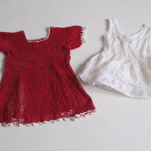 VTG Baby Girl Dress 12 M Crochet Red White LOT 2